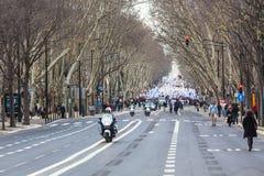 LISBOA - 26 DE ENERO: Más de 40 000 profesores participaron en p Foto de archivo libre de regalías