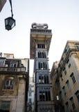 Lisboa céntrica; Elevador de Santa Justa Imagen de archivo libre de regalías
