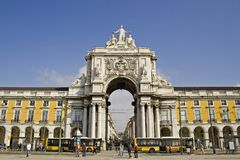 Lisboa - cuadrado del comercio Foto de archivo
