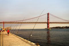 Lisboa - 25 de abril Suspension Bridge Imagem de Stock Royalty Free