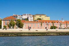 Lisboa downtown, waterfront in Ribeira das Naus. Royalty Free Stock Images