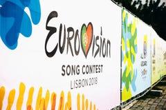Lisboa, el 24 de abril de 2018: Foto de la imagen con la competencia de canción de la Eurovisión de los símbolos de la Eurovisión Fotos de archivo