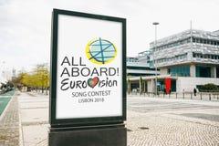 Lisboa, el 24 de abril de 2018: Foto de la imagen con la competencia de canción de la Eurovisión de los símbolos de la Eurovisión Foto de archivo libre de regalías
