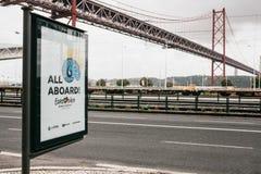 Lisboa, el 24 de abril de 2018: Foto de la imagen con la competencia de canción de la Eurovisión de los símbolos de la Eurovisión Imágenes de archivo libres de regalías