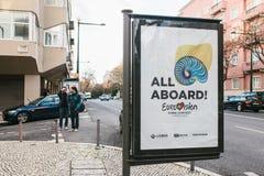 Lisboa, el 24 de abril de 2018: Foto de la imagen con la competencia de canción de la Eurovisión de los símbolos de la Eurovisión Fotografía de archivo