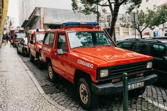 Lisboa, el 18 de junio de 2018: Coches policía en una calle de la ciudad Protección del orden público Fotos de archivo libres de regalías