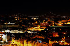 Lisboa en la noche Foto de archivo libre de regalías