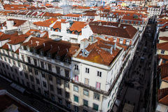 Lisboa - haciendo turismo del elevador/de la elevación #3 de Santa Justa Foto de archivo libre de regalías
