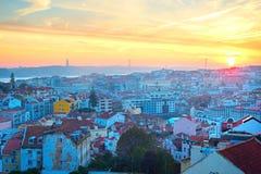 Lisboa hermosa en la puesta del sol, Portugal Imagen de archivo libre de regalías