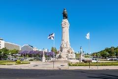 Lisboa, monumento no quadrado de Marques de Pombal foto de stock royalty free