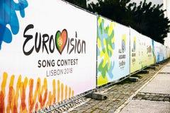 Lisboa, o 24 de abril de 2018: Foto da imagem com competição de música de Eurovision Lisboa 2018 dos símbolos de Eurovision do of foto de stock
