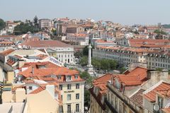 LISBOA. Panoramic vision of the ROSSIO SQUARE IN LISBOA PORTUGAL Royalty Free Stock Photo