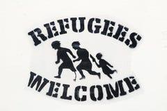 Lisboa, Portugal, arte da rua no auxílio aos refugiados fotografia de stock royalty free