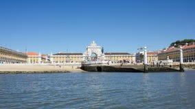 Lisboa, Portugal: Cais das Colunas, Terreiro do Paço, the equestrian statue of tke king D. José and the Arch of Rua Augusta Royalty Free Stock Images