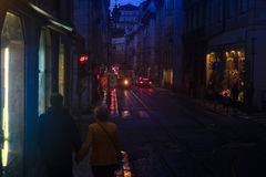 Lisboa, Portugal, Couple. Nocturnal scene with a couple in lisboa Stock Photography