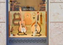 Lisboa, Portugal - 5 de agosto de 2017: Marca de lujo francesa famosa de Hermes Store fotos de archivo libres de regalías