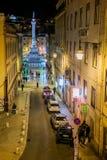 LISBOA, PORTUGAL - 26 de janeiro de 2011: 'Duque quadrado de Cadaval' na noite Foto de Stock