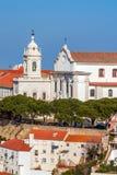 Lisboa, Portugal Graca Church e convento e Sophia de Mello Breyner Andresen Viewpoint fotografia de stock