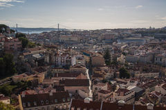 Lisboa Skyline. With 25 de Abril Bridge in background. Alfama district. Lisbon Portugal Stock Photography
