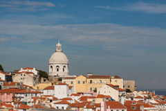 Lisboa skyline with Sao Vicente de Fora. A view of the igreja de Sao Vicente de Fora in Lisbon, famous for its beautiful azulejos Stock Images