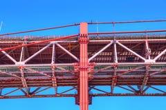 Lisboa, suspensión 25 de la señal del puente de abril Foto de archivo libre de regalías