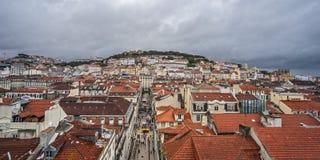 lisbon Португалия От вершины известного Санты Justa Elevat стоковое изображение