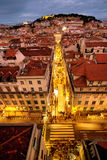 Lisbon. Downtown overlooking St. Jorge castle Royalty Free Stock Photo