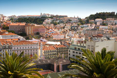 Lisbon. View of central part of Lisbon,Portugal from Bairro Alto district Royalty Free Stock Photography