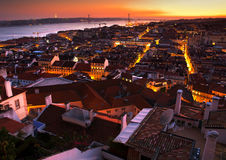 Lisbon. Night view of central part of Lisbon,Portugal Royalty Free Stock Images