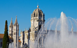 Lisbon. The Hieronymites Monastery and fountain, Lisbon, Portugal royalty free stock image