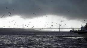 Lisbon. The 25 De Abril Bridge in Lisbon Royalty Free Stock Photography
