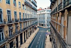 Lisbon. Typical street in the city center of Lisbon, Portugal Royalty Free Stock Images
