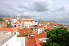 Lisbon. View over cloudy Lisbon, Portugal royalty free stock photography