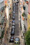 Lisbon. Street lots of cars parked on it Royalty Free Stock Photography