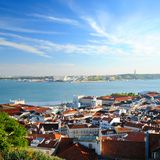 Lisbon. View of the Lisbon city and ocean in Portugal royalty free stock photography