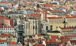 Lisbon from above: view of Baixa district Royalty Free Stock Images