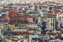 Lisbon from above: view of Baixa district Stock Photos
