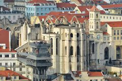 Lisbon from above: view of Baixa district Stock Image