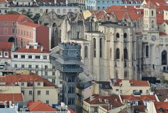 Lisbon from above: view of Baixa district Stock Photo