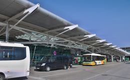Lisbon Airport - Terminal Shuttle buses Stock Images