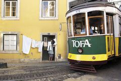 LISBON, ALFAMA, PORTUGAL, tramways stock photos