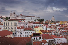 Lisbon Alfama in sunset from above Stock Photo
