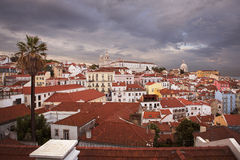 Lisbon Alfama in sunset from above Stock Image