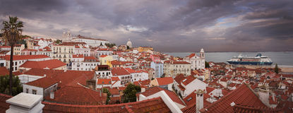 Lisbon Alfama in sunset from above Royalty Free Stock Photography