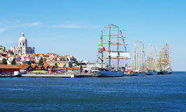 Lisbon And Sailboats Stock Images