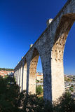 Lisbon aqueduct side. Beautiful view of the Aguas Livres Aqueduct on a summer day in Lisbon, Portugal stock photography