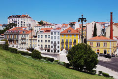 Lisbon architecture. Colorful houses against the blue sky Stock Images