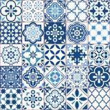 Lisbon Azulejo płytki wektoru geometryczny wzór, portugalczyk lub Hiszpańska retro stara płytki mozaika, Śródziemnomorski bezszwo ilustracji