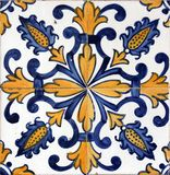 Lisbon azulejos. Traditional Lisbon tiles on facade of old building Stock Images