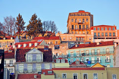 Lisbon baixa on sunset Royalty Free Stock Photography